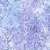 Artisan Batiks - Bright Blooms Flowers Lavender Yardage