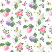 Scented Garden - Small Floral Toss White Multi Digitally Printed Yardage