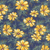 Sweet Harmony - Big Daisy Navy Yardage