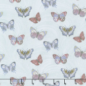 Totally Tulips - Teal Butterfly Wave Light Teal Pearlized Yardage