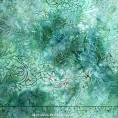 Malam Batiks IV - Water Lampas Rose Turquoise Yardage