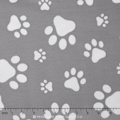 "Cuddle Prints - Paws Graphite/Snow 60"" Minky Yardage"