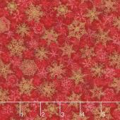 Winter's Grandeur 6 - Holiday Small Flakes Red Metallic Yardage