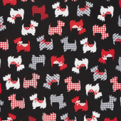 Dotty for Scottie - Sweet Scotties Black Yardage