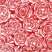 Sugar Berry - Candied Roses Radiant Cherry with Red Glitter Yardage