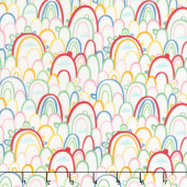 Best Friends Forever - Rainbow Paradise White Yardage