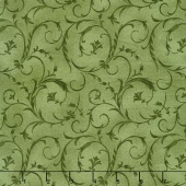 "Beautiful Backings - Elegant Scroll Forest Green 108"" Wide Backing"