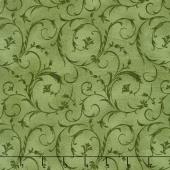 "Beautiful Backings - Elegant Scroll Forest Green 108"" Wide Backing"