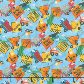 Construction Zone - Tossed Vehicles & Signs Mid Blue Multi Digitally Printed Yardage