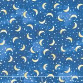 I Love You to the Moon & Back - Tossed Moons and Stars Navy Yardage