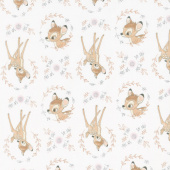Disney Sentimental - Sweet Bambi in White with Metallic Copper Yardage
