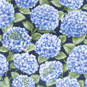 Hydrangea Blue - All Over Hydrangea Dark Blue Yardage