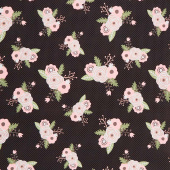 Modern Farmhouse - Main Floral Black Metallic Yardage