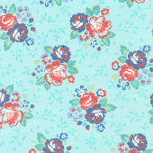 Backyard Blooms - Aqua Yardage