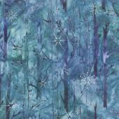 Artisan Batiks - Northwoods 7 Trees Winter Metallic Yardage