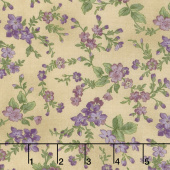 Aubergine - Trailing Flowers Antique Yardage