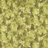 Bounty of the Season - Grapes Green Metallic Yardage
