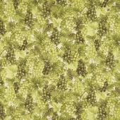 Bounty of the Season - Grapes Green Metallic Yardage