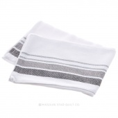Tea Towel - Stripe Border White/Grey