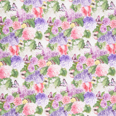 Scented Garden - Packed Floral Light Gray Digitally Printed Yardage