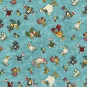 No Fowl Play - Small Character Toss Light Teal Yardage
