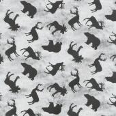Cabin Welcome Flannel - Animal Toss Gray Yardage