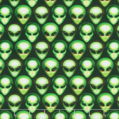 Area 51 - Packed Alien Heads Onyx Yardage