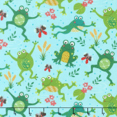 Animals - Playful Frogs Aqua Yardage