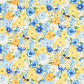 Madison - Large Floral Yellow Yardage
