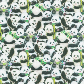 Panda Sanctuary - Packed Panda White Digitally Printed  Yardage
