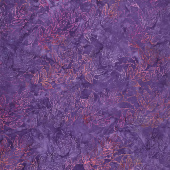 Panache Batiks - Leaf Dew Drop Purple Orange Yardage