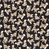 Dog On It - Hot Diggity Small Black Multi Metallic Yardage