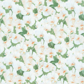 Orchids in Bloom - Packed White Orchids Green and White Digitally Printed Yardage