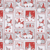 Winter Whimsy - Gnomes Patch Allover Red Gray Flannel Yardage