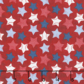 7th Inning Stretch - Stars Allover Red Yardage