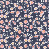 Midnight Rose - Midnight Rose Floral Navy with Gold Sparkle Yardage