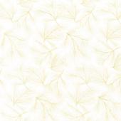 Stonehenge White Christmas - Pine Needles Gold Cream Metallic Yardage