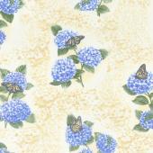 Hydrangea Blue - Hydrangea Fresco Yellow Yardage