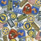 Protect & Serve - Police Badges Natural Yardage