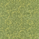 Bounty of the Season - Swirls Green Metallic Yardage