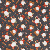 Flannel Gnomies - Tossed Gnomes Black Yardage