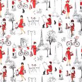 Novelty - Ladies in Red in Paris Yardage