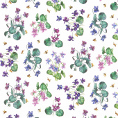 Chelsea - African Violet White Multi Yardage