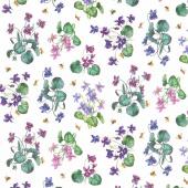Chelsea - African Violet White Multi Yardage