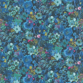 Bloom Bloom Butterfly - Moonlit Blooms Midnight Yardage