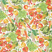 Down on the Farm - Vegetables Multi Digitally Printed Yardage