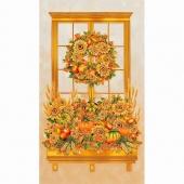 Shades of the Season 10 - Autumn Wreath Window Harvest Metallic Panel