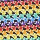 Novelty - Colorful Unicorn Heads Black Yardage