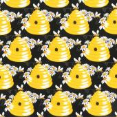 Sunny Bee - Bee Hive Black Yardage