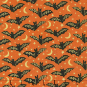 Midnight Spell - Bats Orange Metallic Yardage